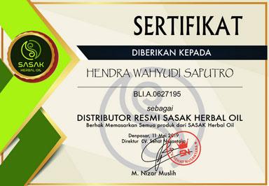 Sertifikat Distributor Minyak Sasak